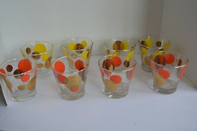 """8 Russel Wright Bartlett Collins Eclipse  3"""" Cocktail Glasses Gold orange yellow"""