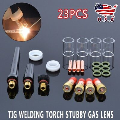 Set of 23 TIG Welding Torch Stubby Gas Lens +Pyrex Glass Cup Fit Tig WP-17/18/26