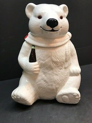 "Coca Cola Polar Bear Christmas Holiday Ceramic 10"" Cookie Jar 1994 Coke"