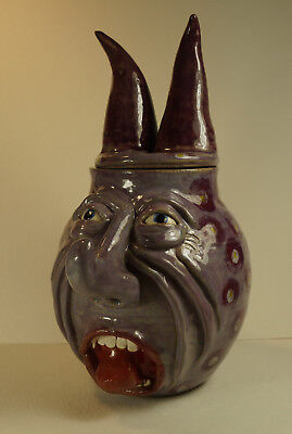 CURLY NOSED PURPLE DEVIL - Face Jug  by Susi Nagoda Bergquist
