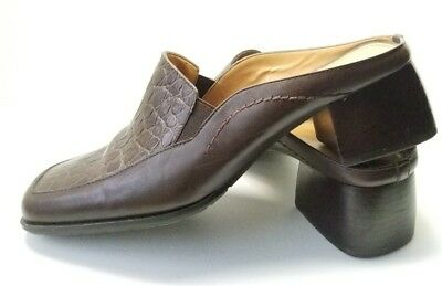 20118d9d7ed Naturalizer Chunky Heel Womens Sz 9M Brown Croc Embossed Leather Shoes (tu3)