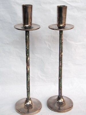Vintage LOS CASTILLO Mexican Silverplate Abalone Shell MOP CANDLESTICKS Taxco