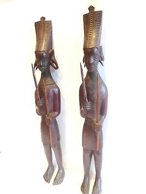"Found"" Two Early Hand Carved Ornate  Wood Figurines Of Young Tribsmen"