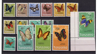 TANZANIA 1973-78 BUTTERFLY Issue FIFTEEN all DIFFERENT Pristine and MNH..