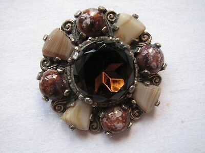 Vintage Miracle Agate Glass Brooch Pin Scottish Celtic Deisgn