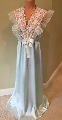 """Vtg Lily of France Aqua Lacy Frilly Wet Look Satin Nightgown L Bust 40"""" Sissy"""
