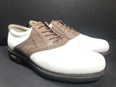 a33ff68397e1b6 ECCO Classic Hydromax Brown Black Leather Golf Shoes Men s US 10-10.5 (Euro
