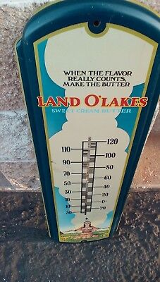"Vintage Land O Lakes Sweet Cream Butter Metal Advertising Thermometer 27"" Long"