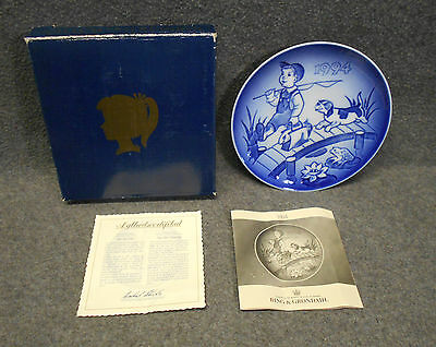 "1994 Bing & Grondahl ""The Little Fisherman"" Children's Day Plate - Papers & Box"