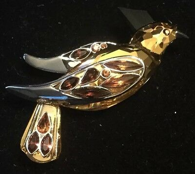 Sterling Silver 925 Swarovski Bird Parrot Brooch Pin Orange Black Crystals