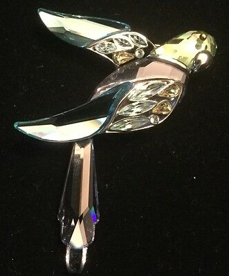 Sterling Silver 925 Swarovski Bird Parrot Brooch Pin Aqua Blue Purple Green