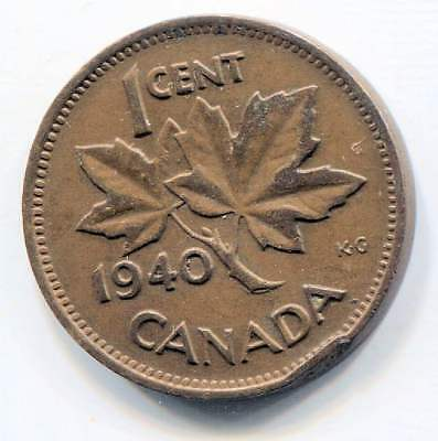 1940 Canadian 1 Cent Maple Leaf Penny Coin - Canada - King George VI