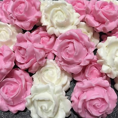 Edible 3D Roses Cake, Cup Cake Toppers x 6 Mix White & Pink