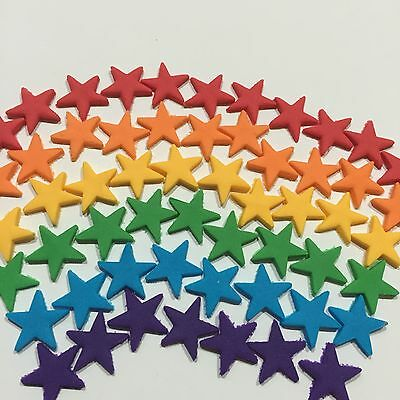 Edible Suger Stars Cake,Cup Cake Toppers x 40 Mix Red,Orange,Green,Blue