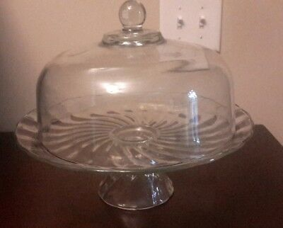 Vintage Glass Pedestal Cake Stand With Dome Cover - Scalloped Edges Swirl Plate