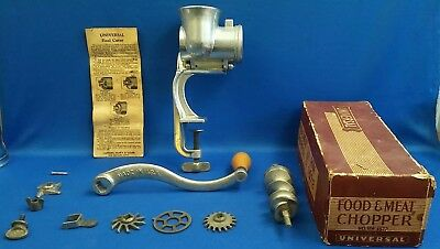 Antique Universal Meat Grinder Food & Meat Chopper + Parts + Box + HW 1572