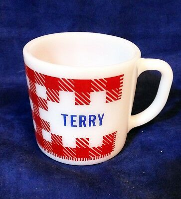 """Vintage Westfield """"Heat Proof"""" Red/White Checkered Coffee Mug W/ Name """"Terry"""""""