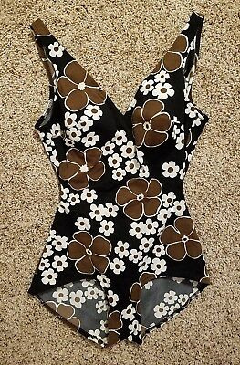 VTG 60s ROXANNE Perfection Fit BLACK 14 36 B PinUp ROCKABILLY Bombshell Swimsuit