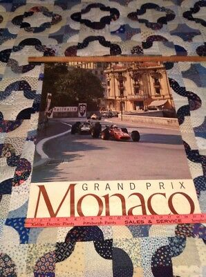 Rare! 1965 Original Monaco Grand Prix Poster With Ferrari & Lotus Battle For 1St