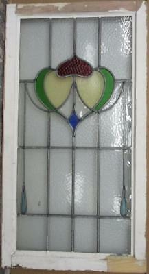 """LARGE OLD ENGLISH LEADED STAINED GLASS WINDOW Stunning Abstract 20.25"""" x 38"""""""