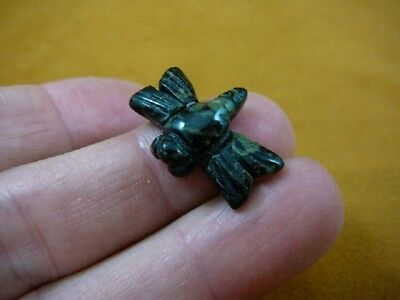 "Y-DRAG-502) 1"" Green black flying Dragonfly gemstone FIGURINE gem carving insect"
