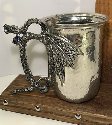 """Fellowship Foundry - LG Dragon Stein pewter   5 """" TALL x 6 in/dragon blue jets"""