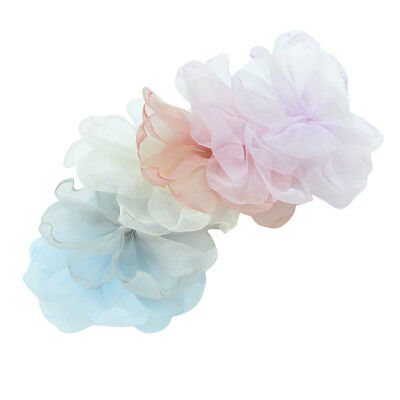 6pcs Chiffon Rose Lace Trim Flower Applique for DIY Crafts Decoration Sewing