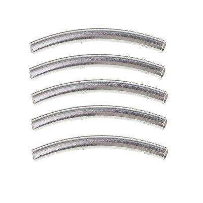 5pcs Curved Tube Sterling Silver Elbow Noodle Spacer Loose Beads Connectors