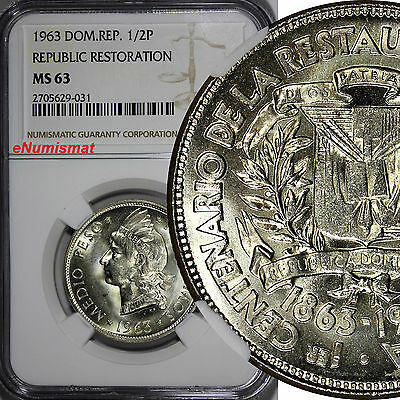 Dominican Restoration Republic Silver 1963 1/2 Peso NGC MS63 Mint-300,000 KM# 29