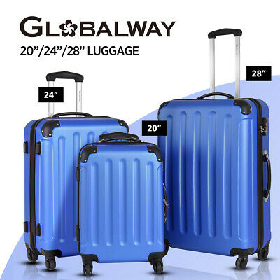 Globalway 3PC Luggage Set Suitcase Trolley Travel TSA Lock Hard Case Lightweight