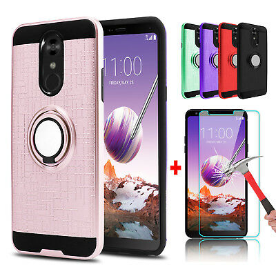 For LG Stylo 4 Hybrid Slim Ring Stand Phone Case+Tempered Glass Screen Protector