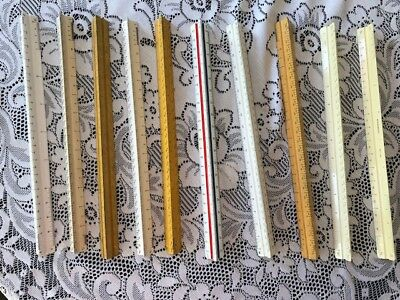 """Vintage Lot Of 10 Triangular Architect Drafting Engineering Scale Rulers 12"""""""