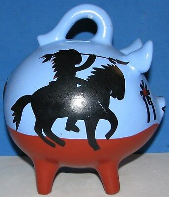 Hand Painted Blue Red Bisque Ceramic Mexico Pig Piggy Bank Indian Chief $9.99