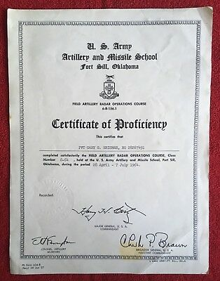 Vintage Vietnam/ US Army Artillery Missile Proficiency Certificate/ Fort Sill