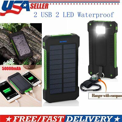 Universal 50000mAh Cell Phone Solar Power Bank Battery Charger 2 USB LED Travel