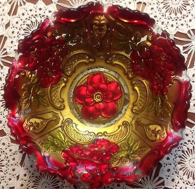 """Antique GOOFUS GLASS Reverse Painted """"ROSES IN THE SNOW"""" Double Red & Gold Bowl"""