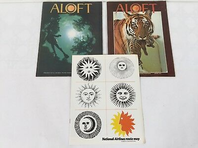 National Airlines Inflight Magazine Aloft Route Map Spring 1973 Winter 1972 Lot
