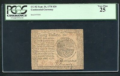 Cc-82 September 26, 1778 $20 Twenty Dollars Continental Currency Pcgs Vf-25