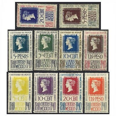 Mexico 1940 First Stamp Centenary Set of 10 MLH Scott 754/8 C103/7 (4-28)
