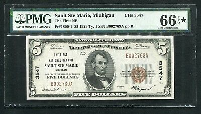 1929 $5 The First Nb Of Sault Ste Marie, Mi Ch. #3547 Pmg Gem Unc-66Epq*