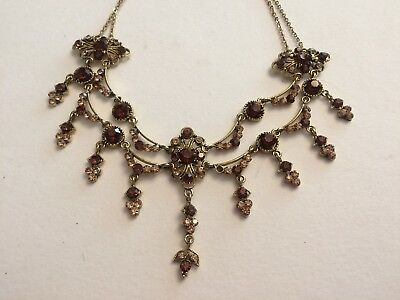 Vintage Delicate Rhinestones Two Strand Necklace on Gold Tone Metal