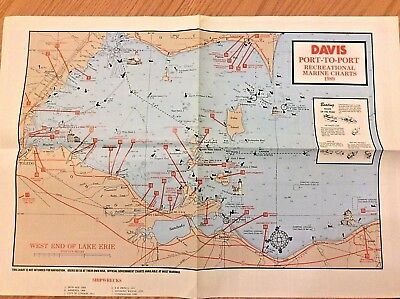 1989 Davis Port-to-Port Recreational Marine Charts West End of Lake Erie Toledo