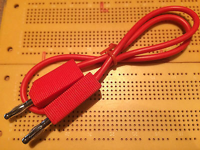 4mm Plug to Plug Banana Plug Stackable 10A Patch Test Lead 0.5m RED