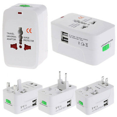 2 USB Port Universal Travel AC Power Charger Adapter Plug Converter US UK EU AU