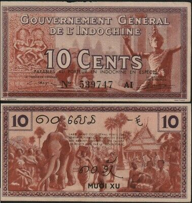 FRENCH INDO-CHINA 10 Cents (1939) Pick 85, Extra Fine  *RARE*