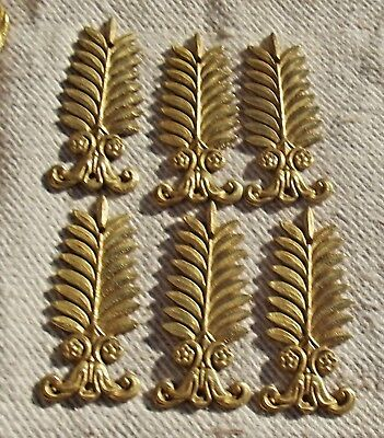 Antique French Ormolu Bronze feather Decorative plaques furniture frames