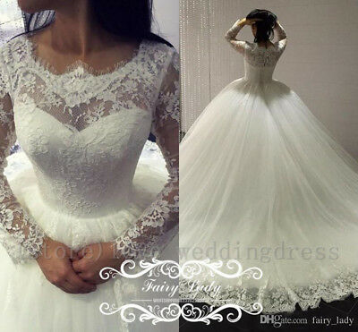 51c9dd3b8515b Vintage Lace Country Wedding Dresses Elegant Sheer Long Sleeves Bridal Ball  Gown