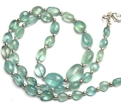 """Natural Gem Aquamarine Smooth 7x5 to 14x10MM Nugget Beads Necklace 19"""""""