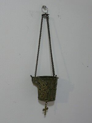 Old Antique Orthodox Hanging Brass Candle Censer Icon Lamp With Crucifix