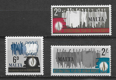 Malta , 1968 , Human Rights Year , Set Of 3 , Perf, Mnh ,